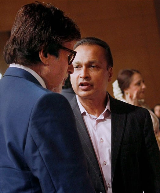 Industrialist Anil Ambani and actor Amitabh Bachchan during the launch of veteran actor Dilip Kumar's autobiography in Mumbai.