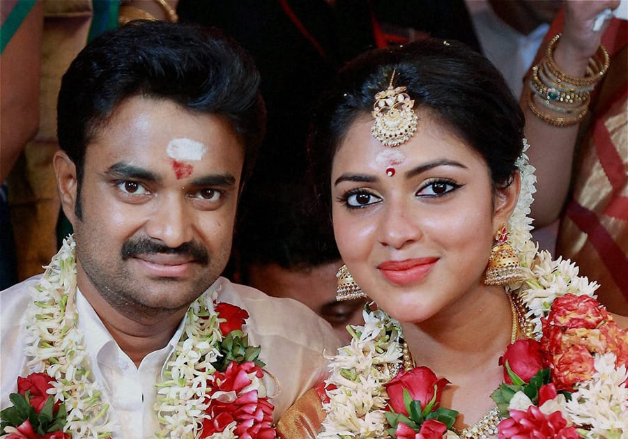 Actress Amala Paul and director A. L Vijay during their wedding ceremony in Kochi.