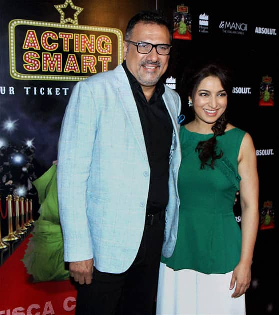 Bollywood actors Boman Irani and Tisca Chopra during a party celebrating the success of the latter's book.