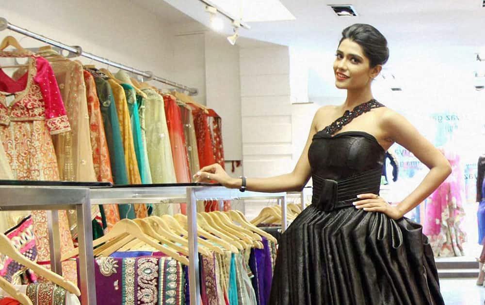Model Arjita Roy during the photo shoot of the Libas Vintage Line in Mumbai.