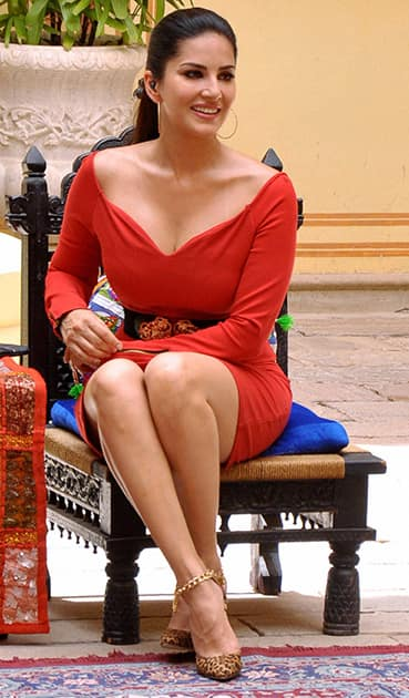 Actress Sunny Leone during shooting of a TV show in Jaipur.