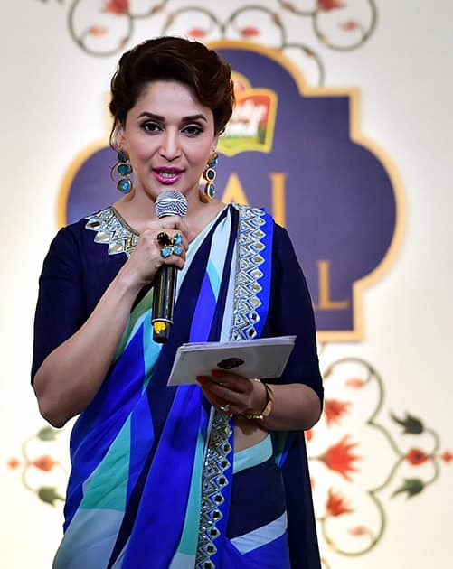 Actress Madhuri Dixit Nene speaks at a musical event for the unveiling new Taj Mahal tea in New Delhi.