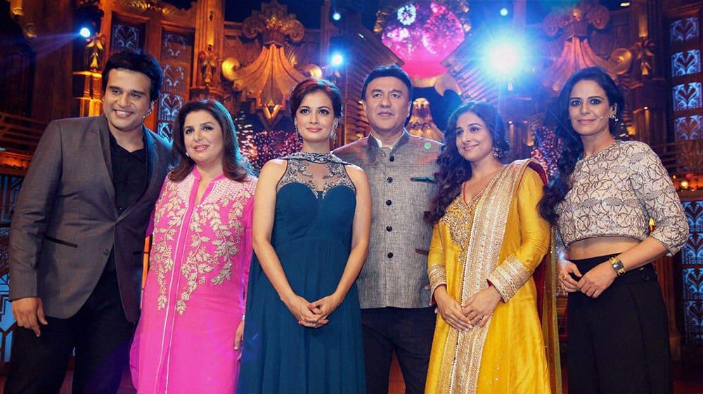 Krushna Abhishek, Farah Khan, Dia Mirza, Anu Malik, Vidya Balan and Mona Singh on the sets of Sony TV's reality show Entertainment Ke Liye Kuch Bhi Karega in Mumbai.