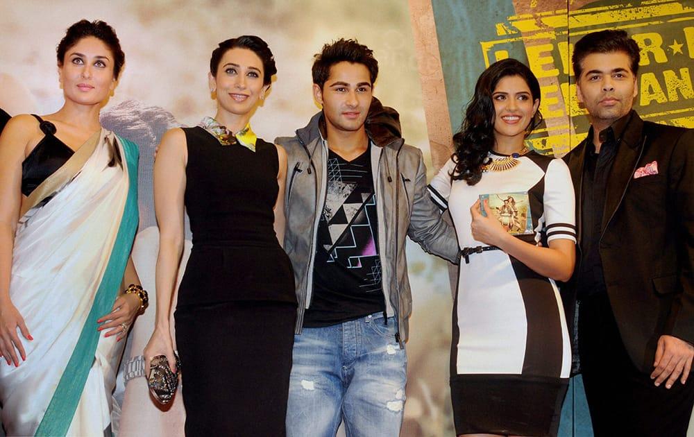 Kareena Kapoor, Karishma Kapoor, Armaan Jain, Deeksha Seth and Director Karan Johar at the music launch of the film 'Lekar Hum Deewana Dil' in Mumbai.