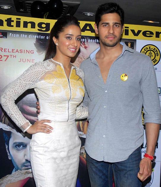 Shraddha Kapoor and Siddharth Malhotra during the promotion of their upcoming movie 'Ek Villain' in Kolkata.