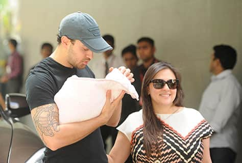 HAPPY PARENTS: It was a sight to cherish when Imran Khan took his wife Avantika and their newly-born baby girl home from hospital. The joy of carrying their bundle of happiness was for all to see. The girl has not been named yet. dna