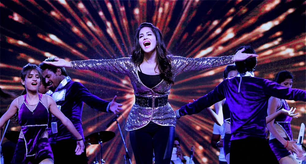 Actress Sunny Leone performing during an event in Jaipur.