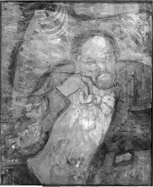 This undated handout image provided by The Phillips Collection shows an infrared image of Pablo Picasso's 'The Blue Room,' painted in 1901. Scientists and art experts have found a hidden painting beneath the painting.