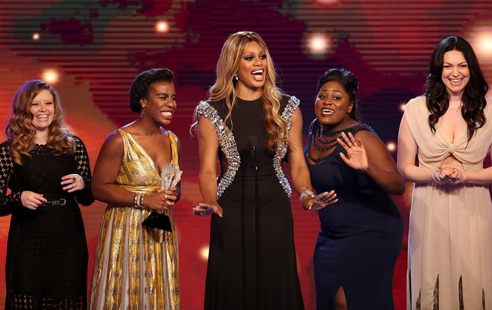 Natasha Lyonne, Uzo Aduba, Laverne Cox, Danielle Brooks, and Laura Prepon accept the award for best comedy series for 'Orange is the New Black' at the Critics' Choice Television Awards at the Beverly Hilton Hotel.