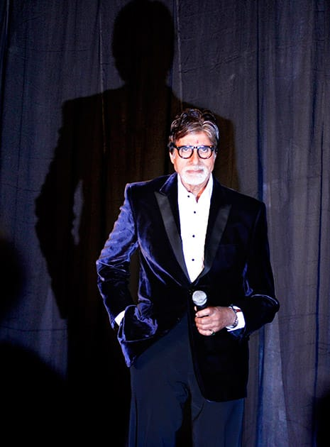 Bollywood's biggest star, Amitabh Bachchan arrives for the promotion of his upcoming television fiction series 'Yudh' in New Delhi.