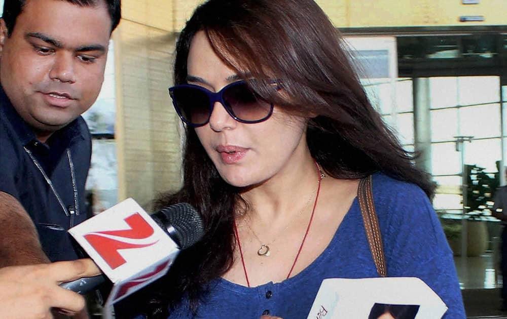 Bollywood actress Preity Zinta arrives from USA at the Mumbai International Airport.