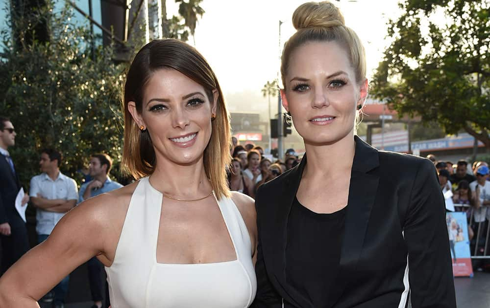 Ashley Greene, left, and Jennifer Morrison arrive at the Los Angeles premiere of `Wish I Was Here` at the Directors Guild of America Theater.
