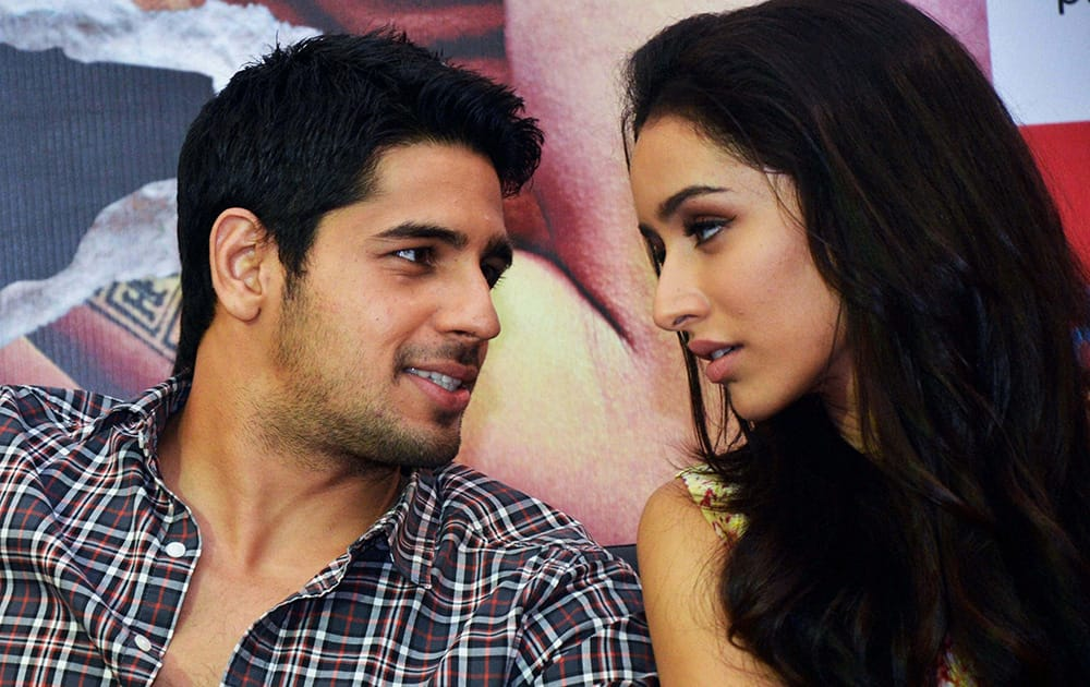 Sidharth Malhotra and Shraddha Kapoor during the promotion of their upcoming film Ek Villain in Ahmedabad.