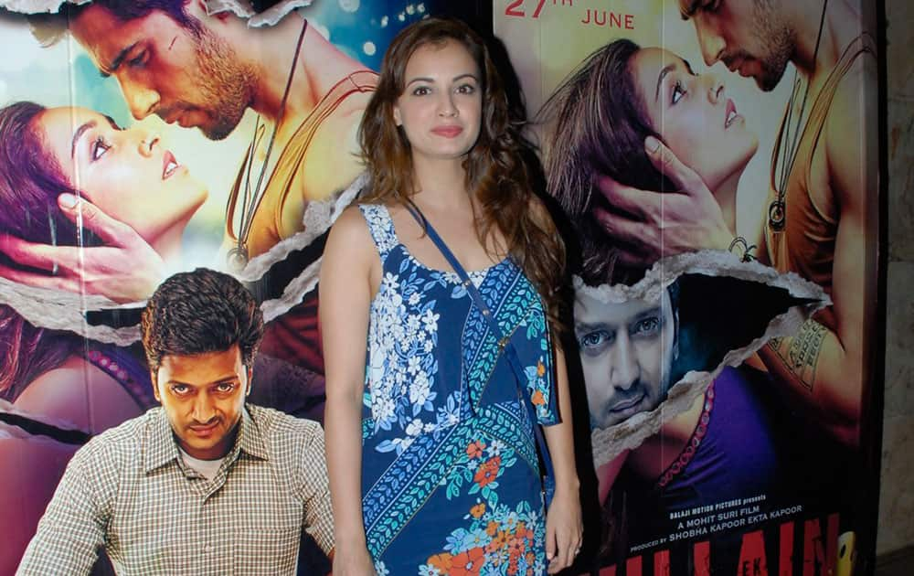 Bollywood actress and filmmaker Dia Mirza during the special screening of the movie Ek Villain in Mumbai. dna