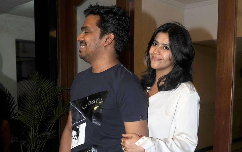 Ekta Kapoor (R) at the success party of a film 'Ek Villain' hosted by Sidharth Malhotra in Mumbai.