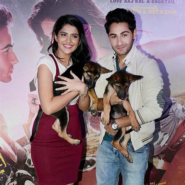 Bollywood actors Armaan Jain and Deeksha Seth during the promotion of their film.