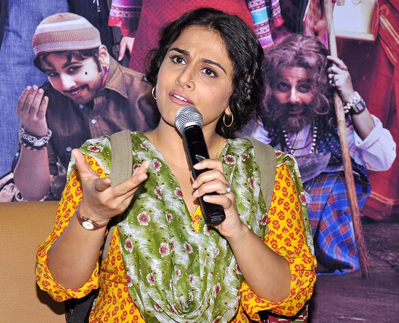 Actress Vidya Balan during a press conference to promote her upcoming film.