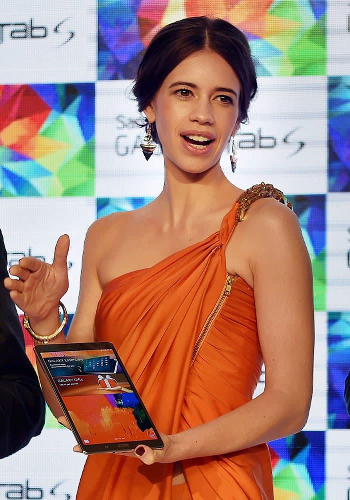 Bollywood actress Kalki Koechlin at the launch of Samsung Galaxy Tab S in New Delhi.