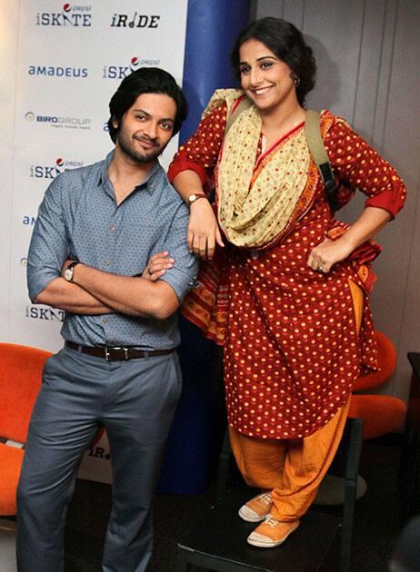 Bollywood actress Vidya Balan and Ali Fazal promote their film 'Bobby Jasoos' in Gurgaon.