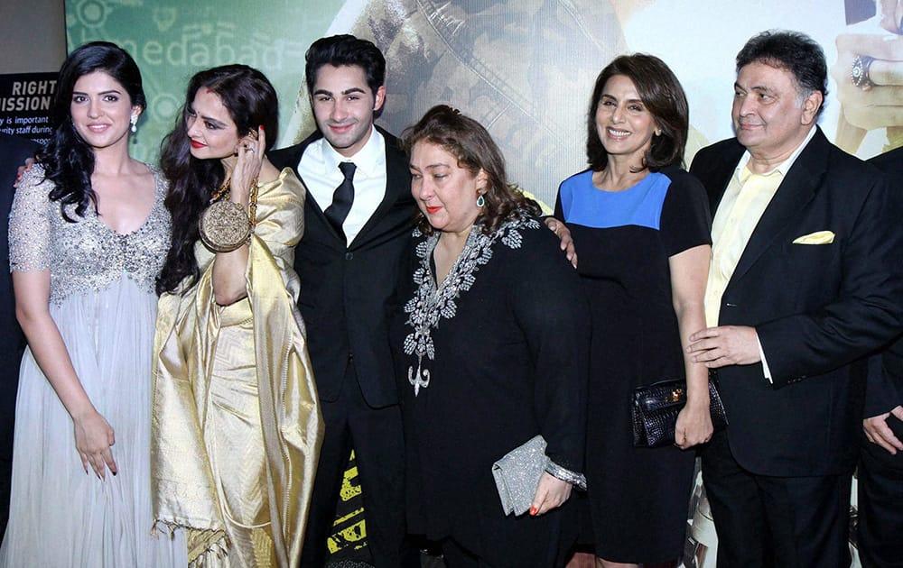 Bollywood actors Rekha, Armaan Jain, Rishi Kapoor, Rima Kapoor and Neetu Singh during the premiere of film 'Lekar Hum Deewana Dil'.