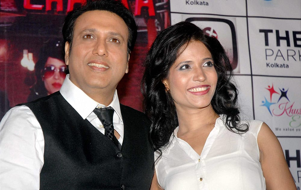 Bollywood actors Govinda and Richa Sharma during promotion of their upcoming movie.
