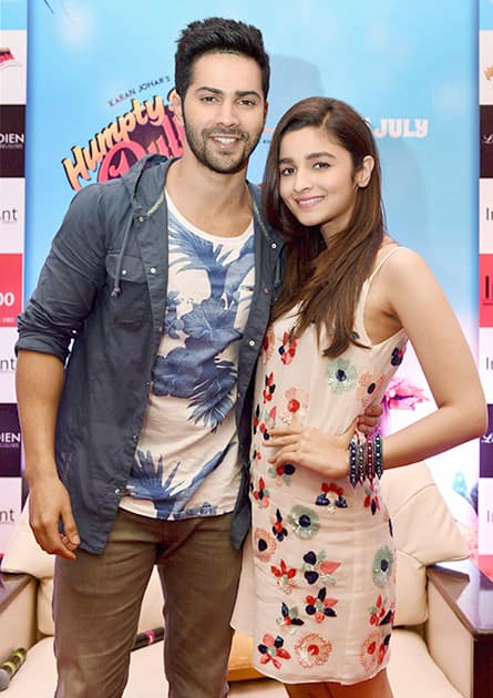 Bollywood actors Varun Dhawan and Alia Bhat during the promotion of their film.
