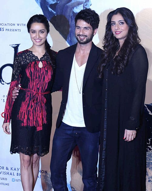 Bollywood actors Shahid Kapoor, Shraddha Kapoor and Tabu during the trailer launch of their upcoming movie 'Haider' in Mumbai.