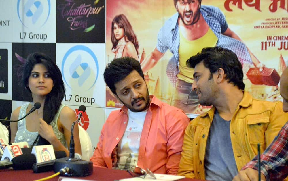 Bollywood actor Ritesh Deshmukh along with actors addressing the press conferance during the promoting his film.