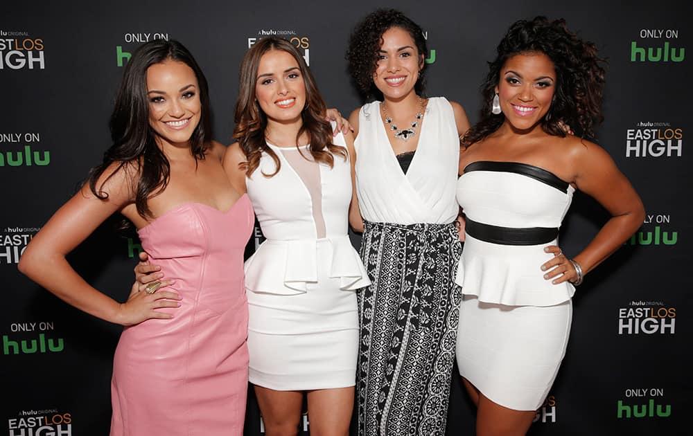 Alexandra Rodriguez, Vannessa Vasquez, Andrea Sixtos and Vivian Lamolli attend Hulu's East Lost High Season 2 Premiere at Landmark Theater.