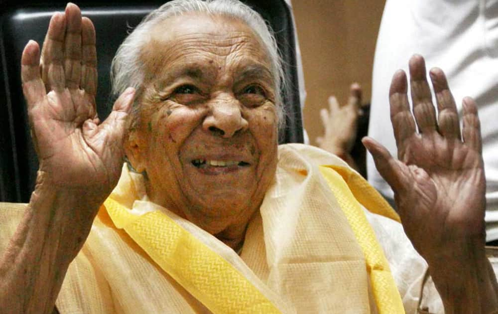 File photo of Veteran actress Zohra Sehgal who passed away on Thursday.She was 102.