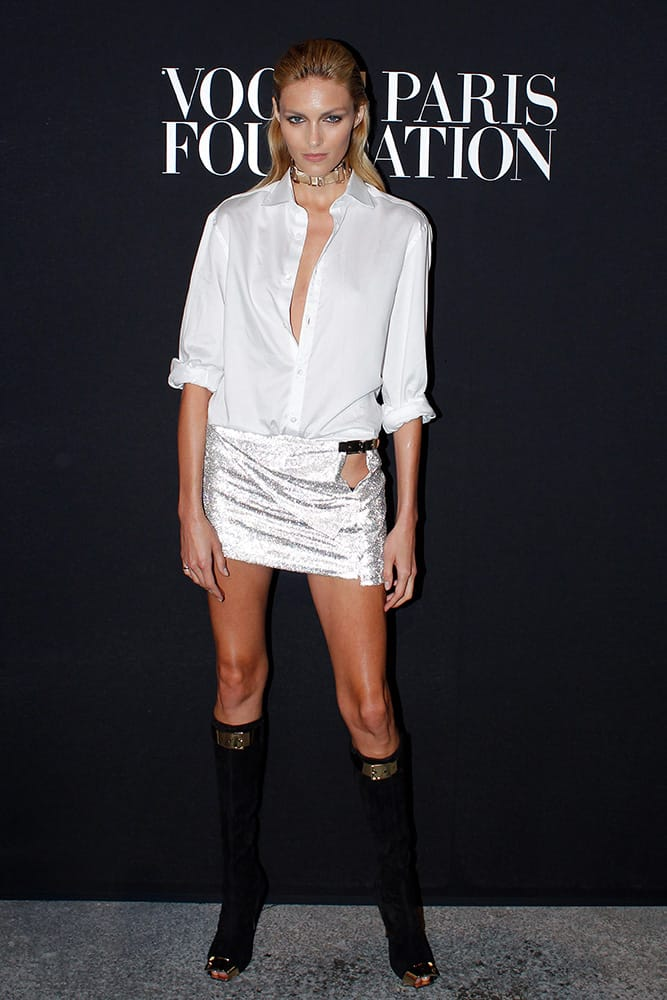Polish model Anja Rubik poses prior to attending the Vogue party, in Paris.