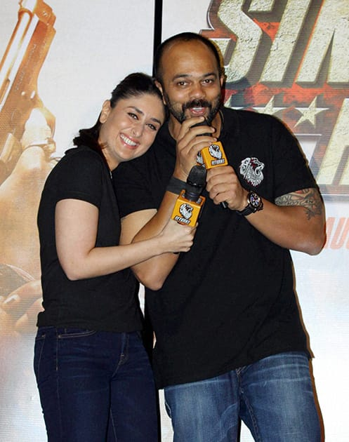 Kareena Kapoor and director Rohit Shetty during a promotional event of the upcoming movie 'Singham Returns' in Mumbai.