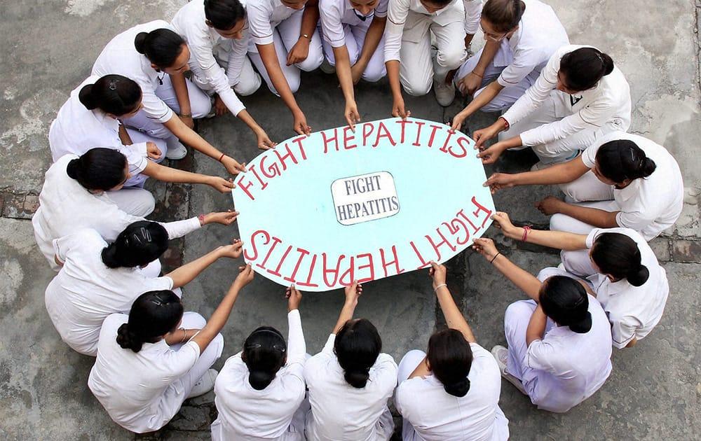 Students observe World Hepatitis day in Jalandhar.