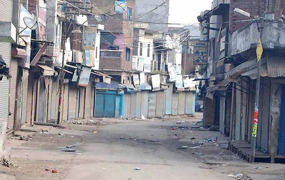 A view of a street during curfew in Saharanpur after violent clashes between two communities over a land dispute.