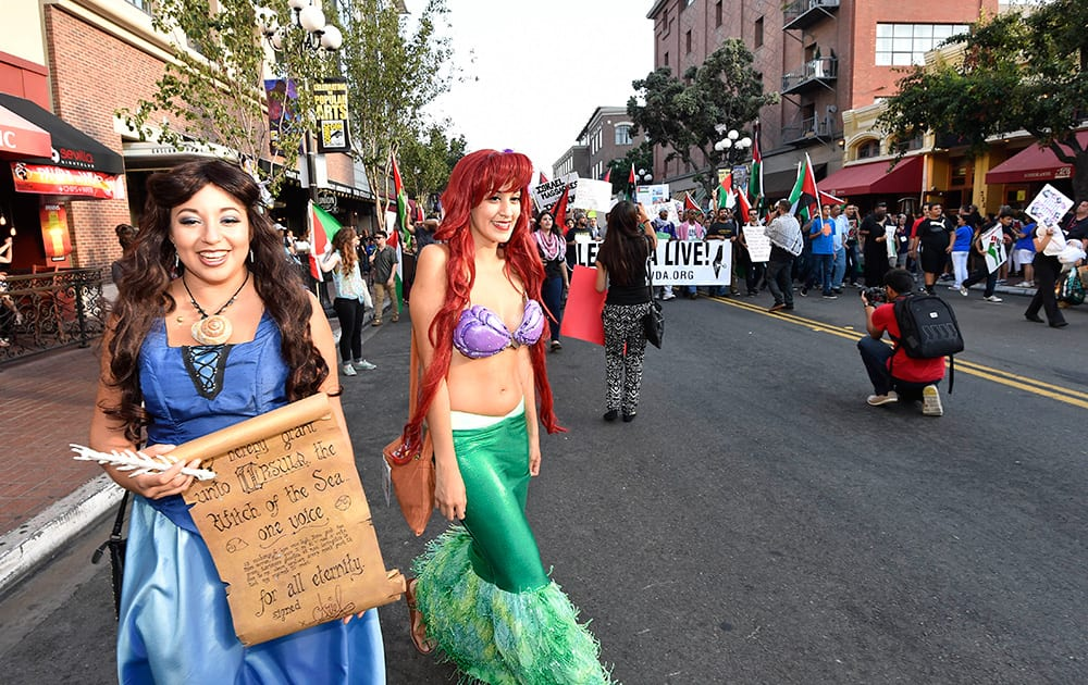 Costumed Comic-Con fans get out of the way as pro-Palestinian demonstrators march in the Gaslamp Quarter outside of the San Diego Convention Center on day two of the 2014 Comic-Con International Convention held in San Diego.