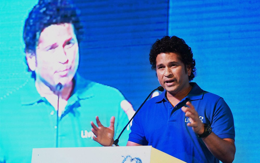 Cricket legend Sachin Tendulkar speaks at the launch of the campaign `Shuddh Paani, Swastha Bharat` to curb the water-borne diseases, in New Delhi.
