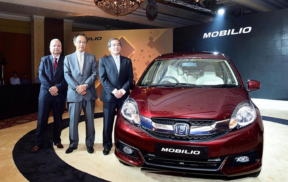 Yoshiyuki Matsumoto, Managing Officer and representative of Development, Purchasing and Production, Asia and Oceania, Honda along with Hironori Kanayama, Honda Car India at the launch of Honda Mobilio in New Delhi.