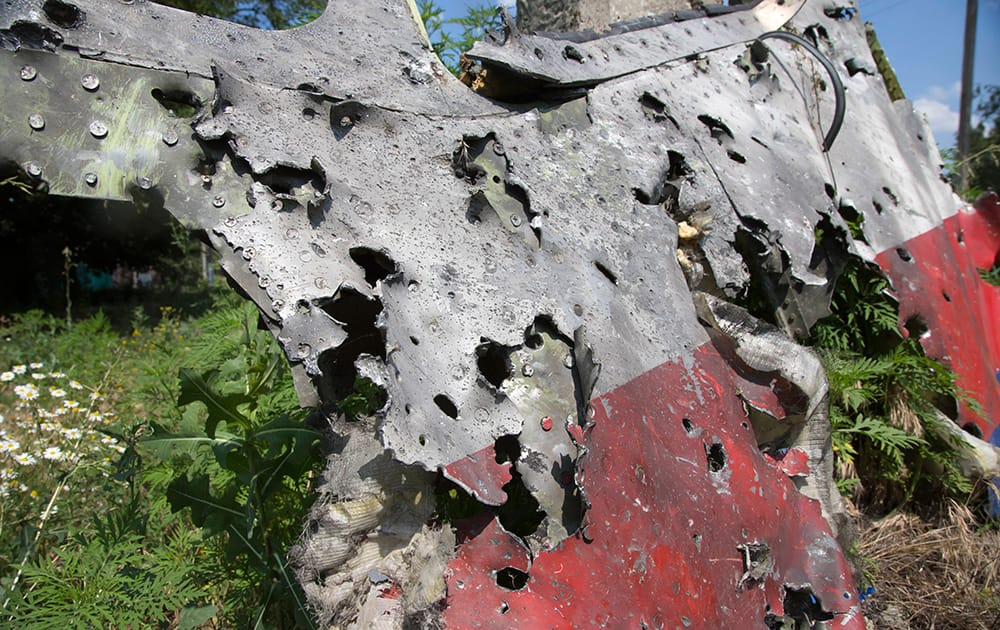 A piece of the crashed Malaysia Airlines Flight 17 lies in the village of Petropavlivka, Donetsk region, eastern Ukraine. Independent military analysts said Wednesday that the size, spread, shape and number of shrapnel impacts visible in an AP photograph of a piece of the wreckage all point to a missile system like the SA-11 Buk.