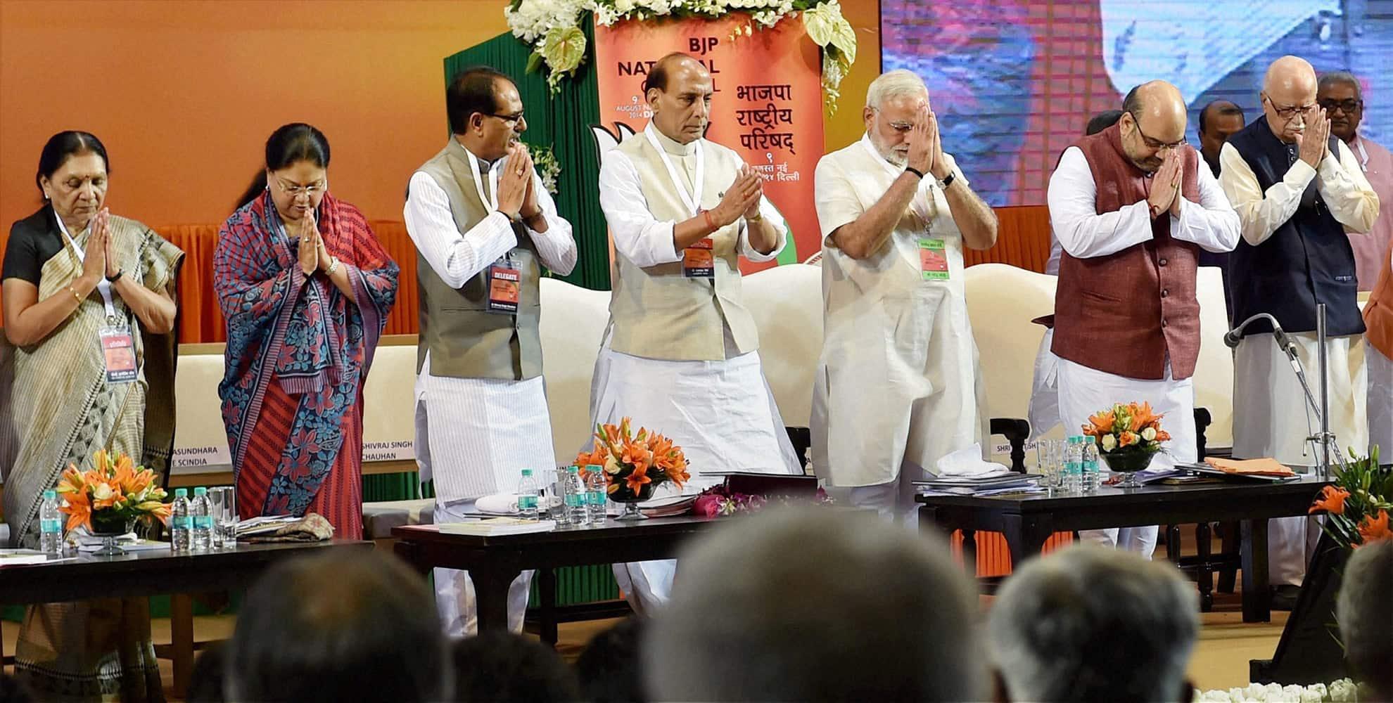 Prime Minister Narendra Modi, BJP President Amit Shah, LK Advani, M M Joshi, Rajnath Singh, M Venkaiah Naidu, Arun Jaitley and other senior leaders during the party`s National Council meet in New Delhi.