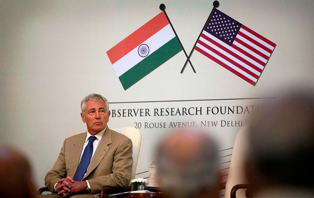 US Defense Secretary Chuck Hagel attends the 25th anniversary celebrations of the Observer Research Foundation in New Delhi.