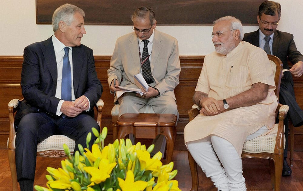 Prime Minister Narendra Modi with US Defence Secretary Chuck Hagel during a meeting in New Delhi.