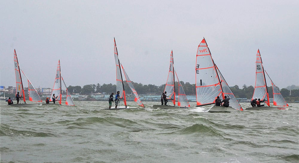 Sailors in action during the 1st 29er Inland National Sailing Championship, organised by Yachting Association of India at Upperlake in Bhopal.