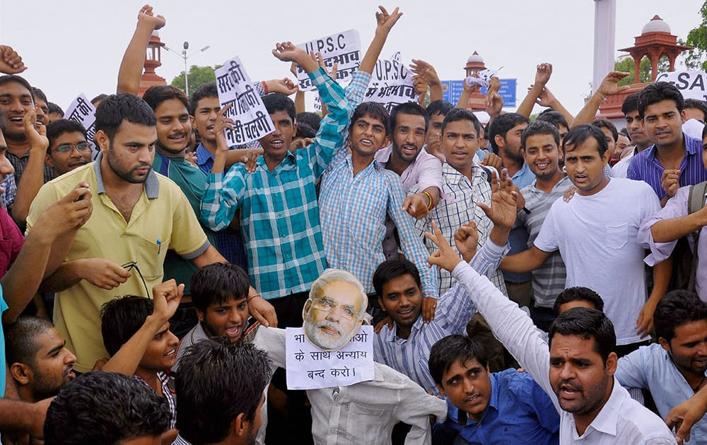 UPSC aspirants protesting against CSAT format in Civil Services Examination outside Rajasthan University in Jaipur.
