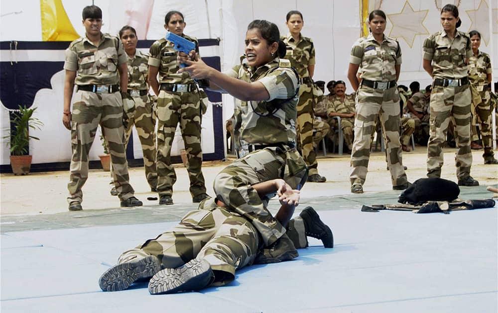 CISF Women demonstrating defence skills during the CISF Women`s Self Defense Program at Shastri Park in New Delhi.