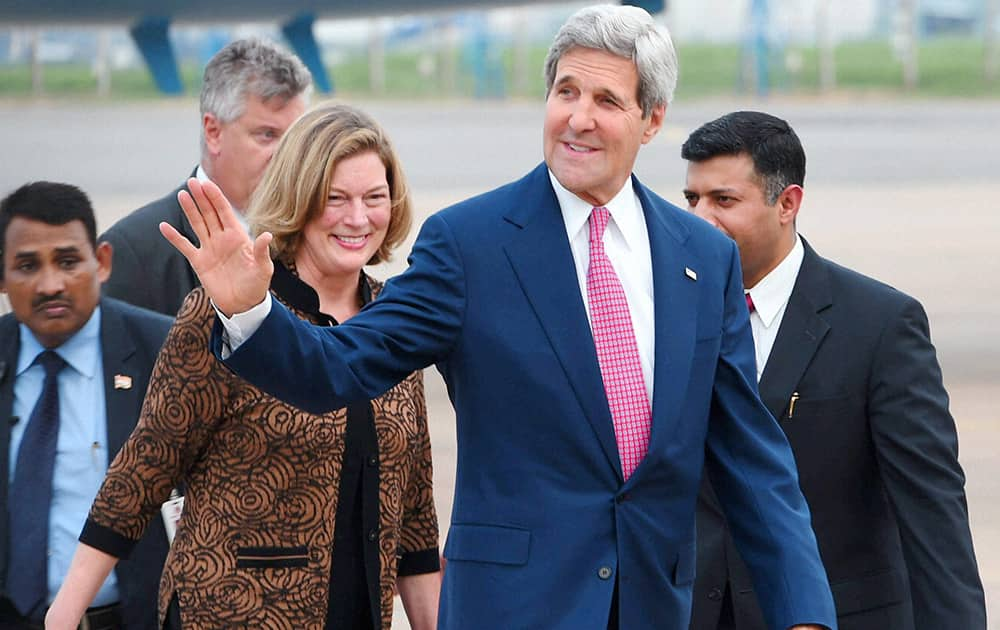 US Secretary of State John Kerry upon his arrival at AFS Palam in New Delhi.