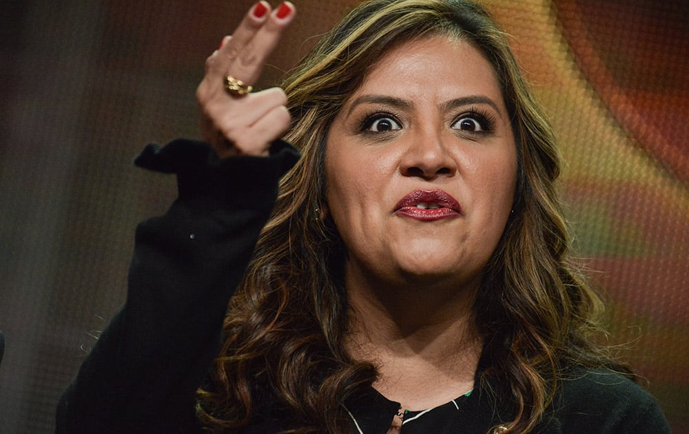 stela Alonzo speaks on stage during the `Cristela` panel at the Disney/ABC Television Group 2014 Summer TCA at the Beverly Hilton Hotel  in Beverly Hills, Calif.