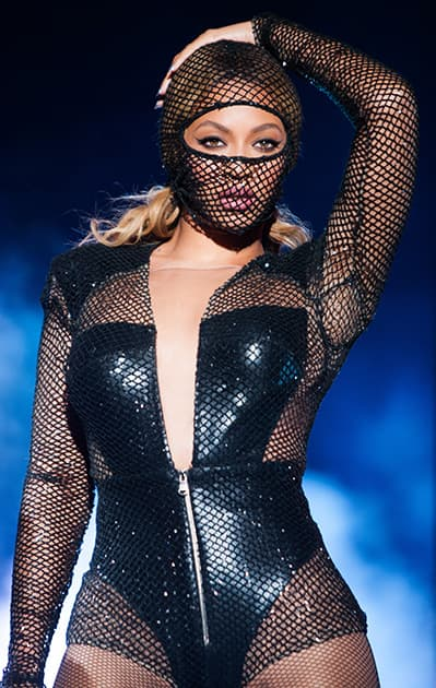 Beyonce performs during the On The Run tour at the Georgia Dome in Atlanta, Georgia.