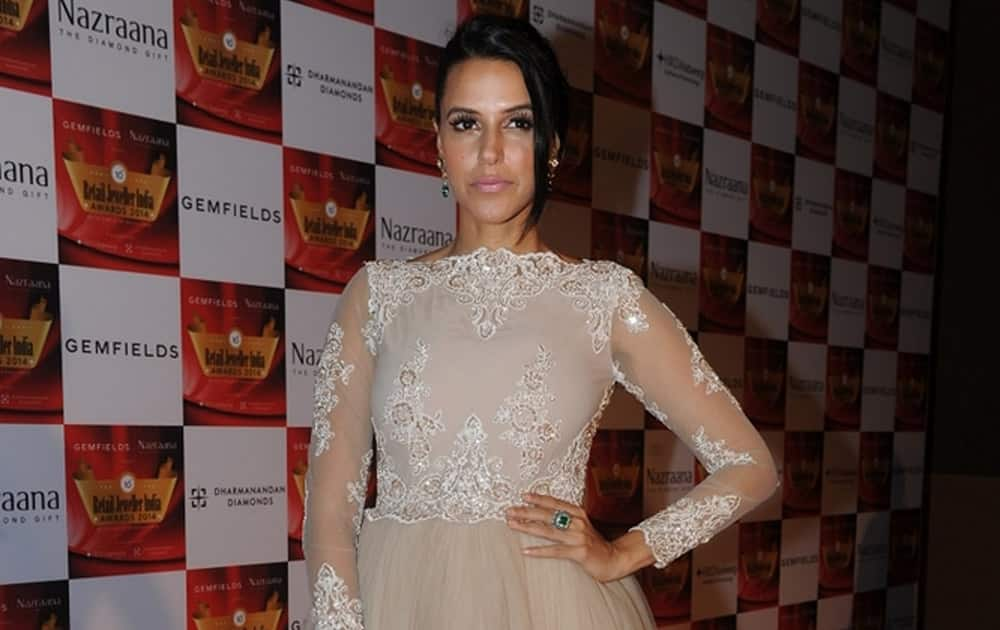 Neha Dhupia during the 10th Annual Gemfields and Nazraana Retail Jeweller India Awards 2014 in Mumbai. dna