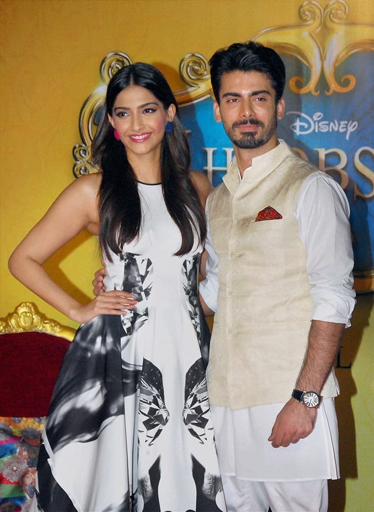 Pakistani actor Fawad Khan and Bollywood actress Sonam Kapoor at the trailer launch of the film Khoobsurat in Mumbai.