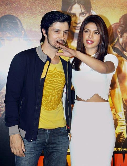 Bollywood actor Priyanka Chopra and Darshan Kumar at the unveiling of trailer of the film Mary Kom, in Mumbai.